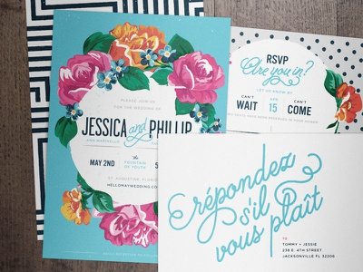 Wedding Invitation Package love print color flowers lettering typography patterns invites wedding rsvp