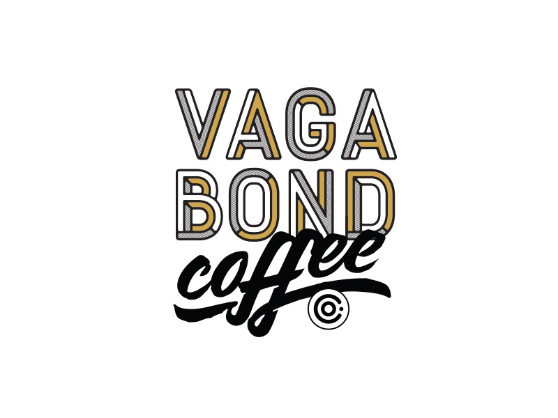Vagabond Coffee Bag Logo lettering gold logo coffee bag coffee vagabond coffee logo