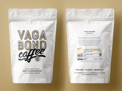 Vagabond Coffee Bags lettering label logo topography typography coffee bags