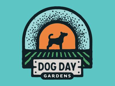 Dog Day Gardens emblem patch logo farm field gardens dog