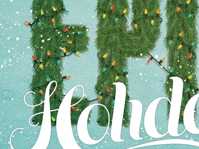 Holiday Card holiday christmas lights snow evergreen trees wreath script typography illustration