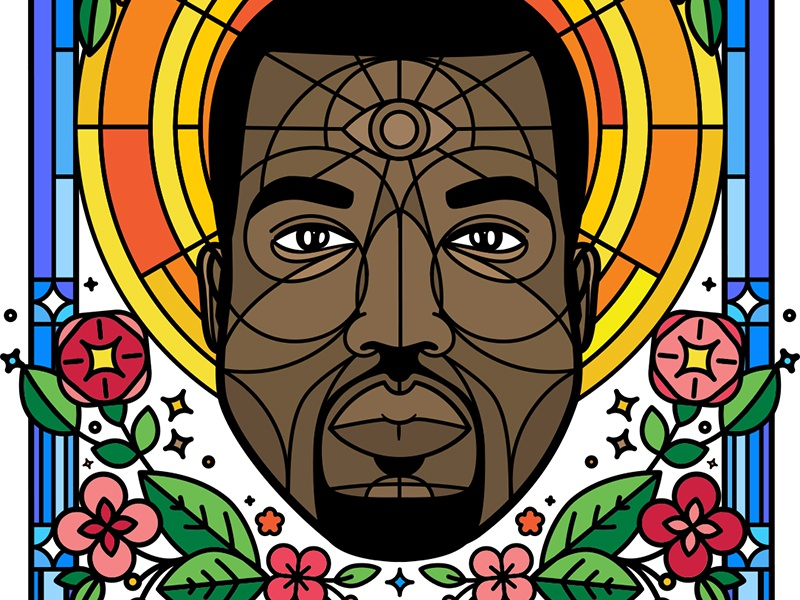 Kanye for President 2020 stained glass sparkle holy illustration president yeezus kanye west 2020 political poster