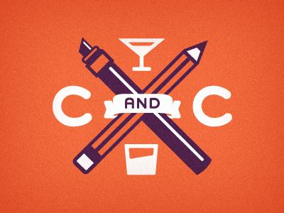 Cocktails and Creatives  aiga jacksonville cocktails creatives martini illustration ribbon marker pencil orange purple white logo mark