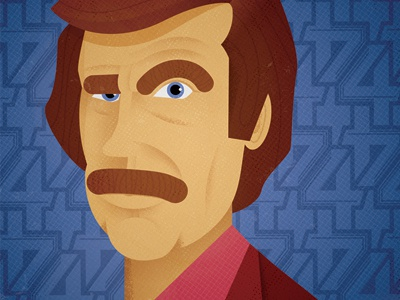 Ron Burgundy anchorman ron burgundy face illustration mustache eyebrows texture four blue pink shadow will ferrell