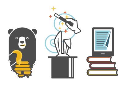 Illustrations icons illustration bee honey magic sparkle typewriter yellow blue charcoal