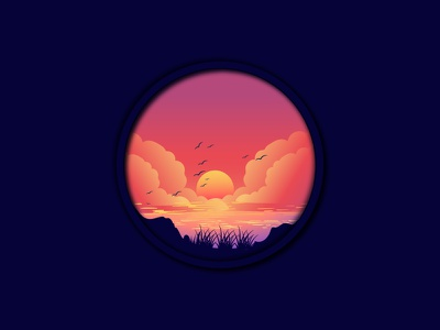 Sunset Landscape illustration art illustrations sunset illustration sunset landscapes landscape illustration landscaping landscape design landscape graphic design gradient branding vector illustration