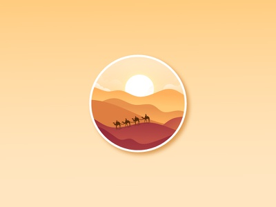 Desert landscape gradient icon sunset flat landscape flat illustration flat  design landscape illustration landscape design landscape mountain desert camel icon design graphic design illustration