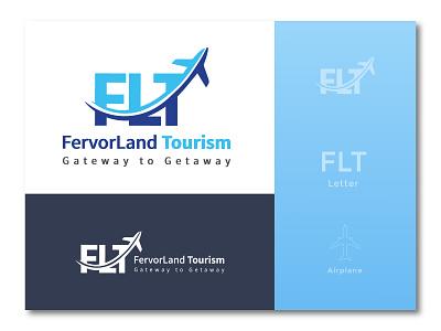 Fervorland tourism Logo lettermark airplane logodesign travelling tourism travel agency travel app travel logo icon design icon logo design branding design graphic design branding corporate identity