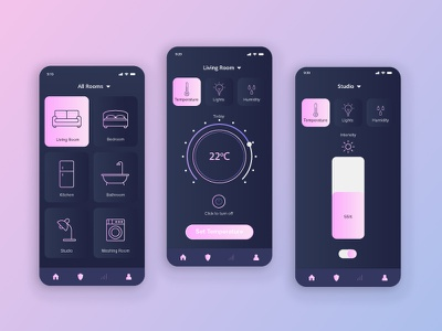 Smart Home Mobile App Ui colorful gradient design graphic design app ui smart home app smarthome mobile design app app design mobile app design mobile app mobile ui gradient