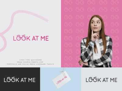 ''LOOK AT ME'' LOGO FOR CLOTHING BRAND typography logo gradient pink clothing brand 2020 trend 2020 tranding simple minimal illustration flat financial design logo design logo branding