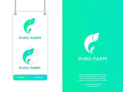PURO FARM LOGO mint green blue golden ratio logo goldenratio 2020 tranding simple minimal financial logo design logo design branding