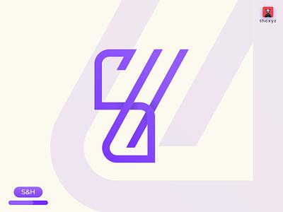 S&H Monogram Logo gradient monogram logo tranding simple minimal illustration financial 2020 logo design design logo