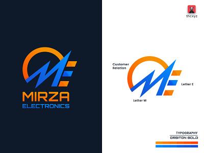 M+E Monogram Logo orange blue monogram logo combination logo gradient bangladesh simple tranding minimal financial branding logo design design logo