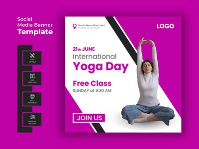 Yoga Day Social Media Banner 21st