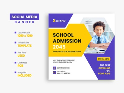 School Admission Social Media Post secondary school scholarship registration primary preschool modern learning kids instagram post facebook post education creative college class children banner back to school ads admission