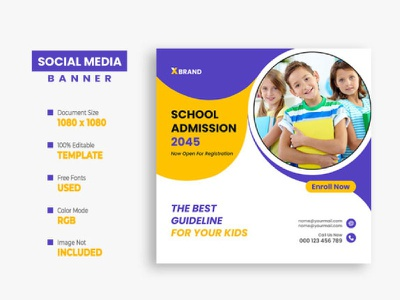 Back to School Soical Media Post Template kids instagram post facebook post education creative college class children banner back to school ads