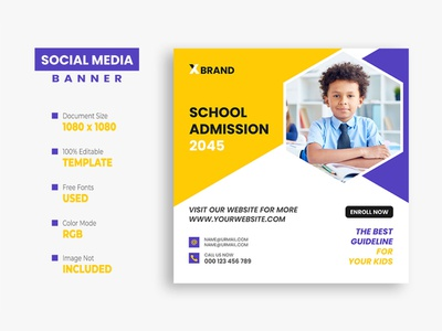 School Admission Social Media Post facebook post education creative ux ui college class children banner back to school ads admission