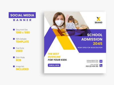 School Education Social Media Post kids instagram post facebook post education creative college class children banner back to school ads admission