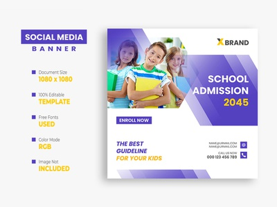 School Education Social Media Post Template kids instagram post facebook post education creative college class children banner back to school ads admission