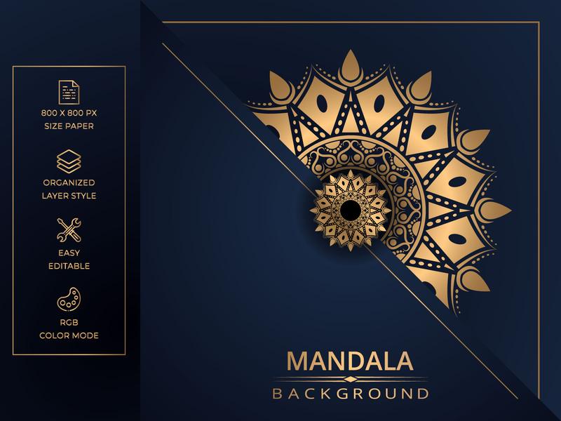 Luxury mandala background with golden arabesque style