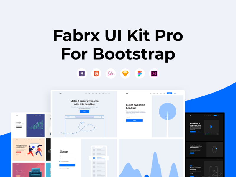 Fabrx UI Kit Pro for Bootstrap is Here! wireframes html5 html template ui  ux ui design templates design system ui kit webdesign bootstrap bootstrap template bootstrap4