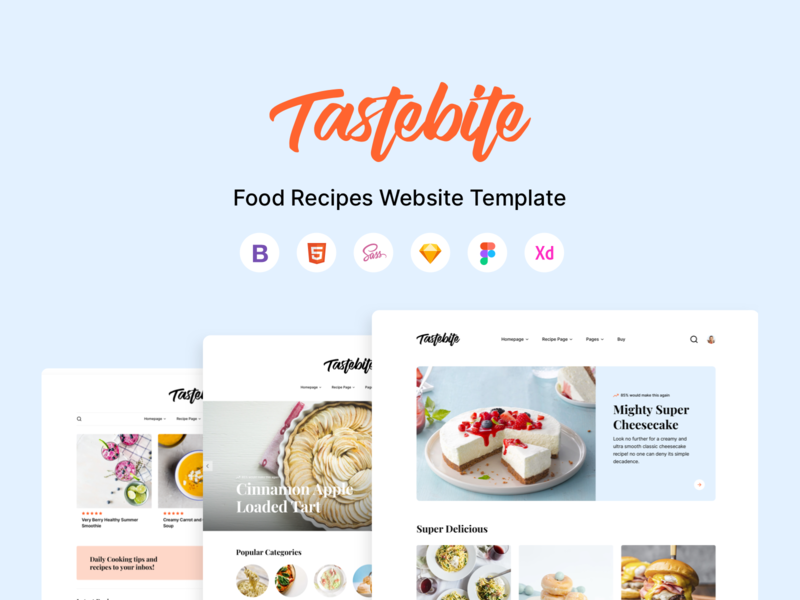 Tastebite - Food Recipes Website Template design system ui design ui scss html5 html template cooking template adobe xd foodie food and drink food app figma sketch bootstrap html recipes food