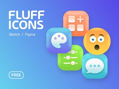 FLUFF 3D ICONS - FREE 😋 uidesign ux design uiux ux ui  ux ui kit ui design ui free icons 3d