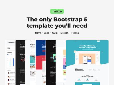 Muze - Bootstrap 5 Template ux ui saas website webdesign layout design template ui kit ui design design system