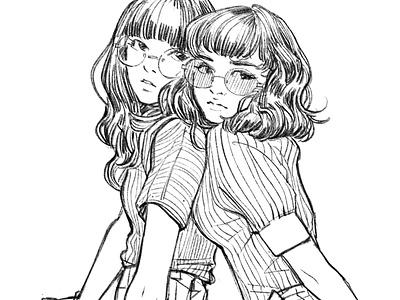 Futari inking characterdesign graphicnovel illustration comics