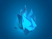 Polygonal blue flame