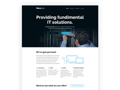 Wemtech homepage design chris weston clean simple white hero large it solutions light web web design