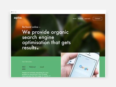 Apita chris weston large background single page website simple minimal green colour seo apita
