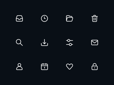 Inbox icons sketch like download settings inbox archive folder email glyph icon
