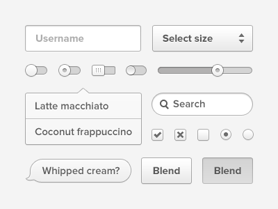 Coconut psd ui slider switch toggle psd input field dropdown button hover text bubble menu