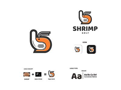 shrimp and golf stick ux vector ui typography logo illustration icon design branding app