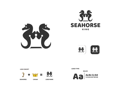 SEA HORSE AND KING king animals seahorse ux vector ui typography logo illustration icon design branding app