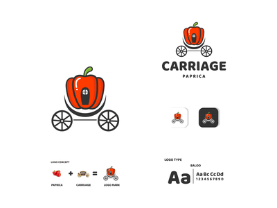 carriage and paprica vegetable paprica carriage ux vector ui typography logo illustration icon design branding app