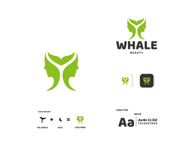WHALE AND FACE beauty whale ux vector ui typography logo illustration icon design branding app