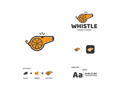 whistle orange and cannon ux vector ui typography logo illustration icon design branding app