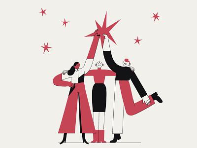 Work together teamwork poster values illustration