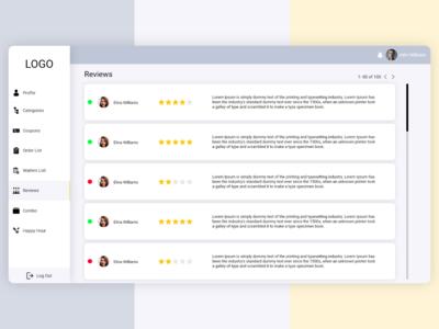 Dashboard Reviews Screen UI