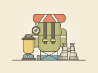 Explorer Icons illustration binoculars compass backpack light lantern gradient illustrator flat vector ui ux