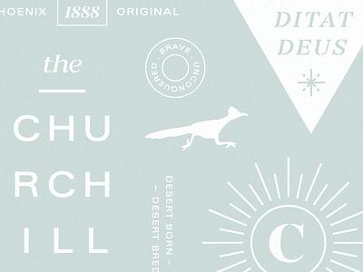 The Churchill arizona roadrunner identity icon branding logo