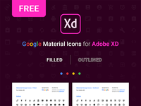FREE  |  Material Icons For Adobe XD