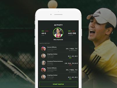 Game Set Stat - Online Score Tracker App for Tennis Players design illustration ui iphoneapp realtime tennistracker mobile app