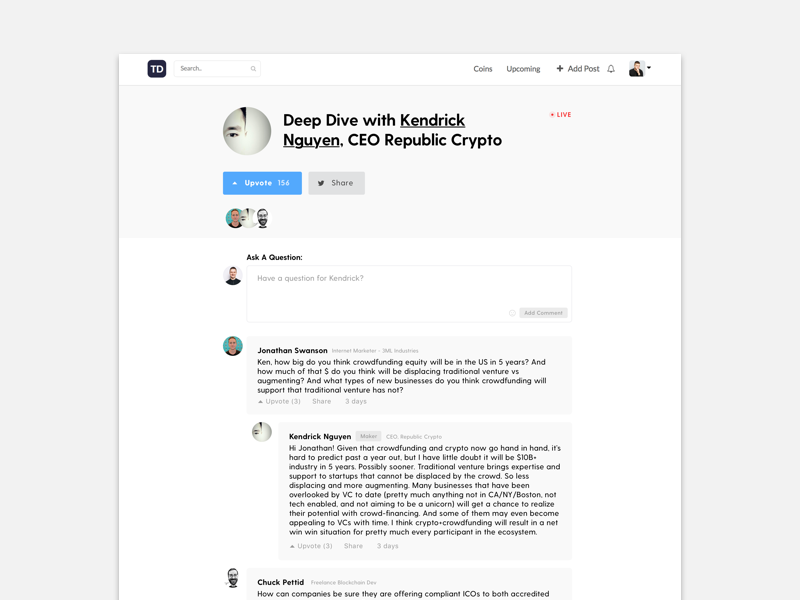 Token Daily Product Design daily design forum reddit cryptocurrency republic decentralised blockstack blockchain crypto token daily token