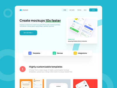 Anymock - Device Mockup app minimalist typography figmadesign figma website design web design ui design template mockup hero daily ui ux dailyui 003 dailyui minimal ui landing page website design