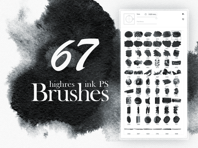 67 highres Watercolor (Ink) Brushes spot blob blot splash poin addons watercolor ink png photoshop abr brushes
