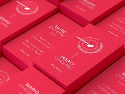 Chezare. Business card template geometry minimal template stripes red logo line card business card template