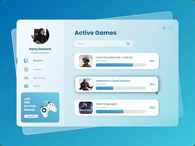 Glass UI - Game Dashboard productdesign product webdesign glassuidesign glassui dashboard uidesign uiux creative direction visual identity design ui